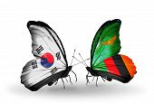 Two Butterflies With Flags On Wings As Symbol Of Relations South Korea And Zambia