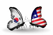 Two Butterflies With Flags On Wings As Symbol Of Relations South Korea And Liberia