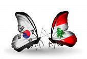 Two Butterflies With Flags On Wings As Symbol Of Relations South Korea And Lebanon