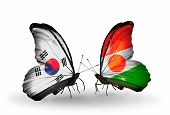 Two Butterflies With Flags On Wings As Symbol Of Relations South Korea And Niger