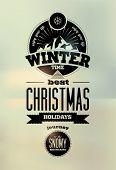 Winter time. Typographic Retro Vector Christmas Design.