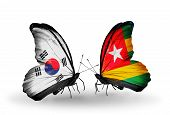 Two Butterflies With Flags On Wings As Symbol Of Relations South Korea And Togo