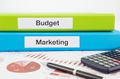 Budget And Marketing Documents With Reports