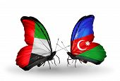 Two Butterflies With Flags On Wings As Symbol Of Relations Uae And Azerbaijan