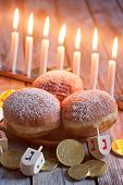 stock photo of dreidel  - Jewish holiday hannukah symbols  - JPG