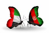 Two Butterflies With Flags On Wings As Symbol Of Relations Uae And Afghanistan