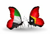 Two Butterflies With Flags On Wings As Symbol Of Relations Uae And East Timor