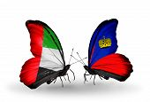 Two Butterflies With Flags On Wings As Symbol Of Relations Uae And Liechtenstein