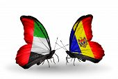 Two Butterflies With Flags On Wings As Symbol Of Relations Uae And Moldova
