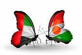 Two Butterflies With Flags On Wings As Symbol Of Relations Uae And Niger