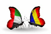 Two Butterflies With Flags On Wings As Symbol Of Relations Uae And Chad, Romania