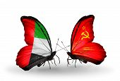 Two Butterflies With Flags On Wings As Symbol Of Relations Uae And Soviet Union
