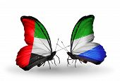 Two Butterflies With Flags On Wings As Symbol Of Relations Uae And Sierra Leone