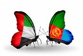 Two Butterflies With Flags On Wings As Symbol Of Relations Uae And Eritrea