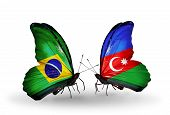 Two Butterflies With Flags On Wings As Symbol Of Relations Brazil And Azerbaijan