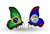 Two Butterflies With Flags On Wings As Symbol Of Relations Brazil And Belize