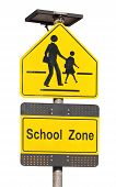 School Zone Sign Isolated On White.