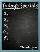 Today's Specials written on a blackboard