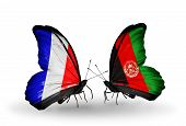 Two Butterflies With Flags On Wings As Symbol Of Relations France And Afghanistan