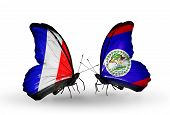 Two Butterflies With Flags On Wings As Symbol Of Relations France And Belize