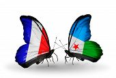 Two Butterflies With Flags On Wings As Symbol Of Relations France And Djibouti