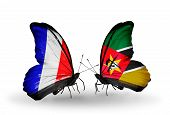Two Butterflies With Flags On Wings As Symbol Of Relations France And Mozambique