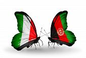 Two Butterflies With Flags On Wings As Symbol Of Relations Italy And Afghanistan