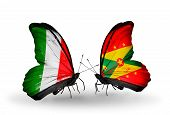 Two Butterflies With Flags On Wings As Symbol Of Relations Italy And Grenada