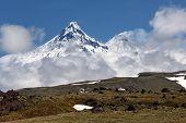 Kamchatka Peninsula: View On Kamen Volcano And Kliuchevskoi Volcano