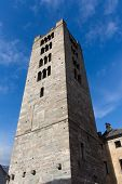 stock photo of blue-bell  - The bell tower of Aosta with blue sky - JPG