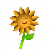 Smiling Sun Flower Cartoon Vector Over White