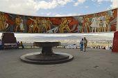 Tourists explore Zaisan war monument in Ulaanbaatar, Mongolia.