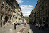 Cobbled Street In Bern, Switzerland
