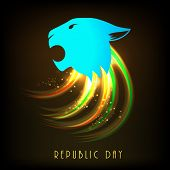 National symbol, lion's face with shiny waves for Indian Republic Day celebration.
