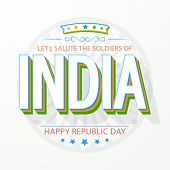 stock photo of ashoka  - 3D text India in national tricolor with Ashoka Wheel for Happy Indian Republic Day celebration - JPG