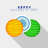 stock photo of ashoka  - Happy Indian Republic Day celebration sticker or label design in national flag colors with Ashoka Wheel on grey background - JPG