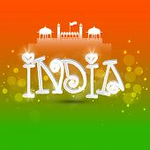 Indian Republic Day celebration with 3D text India and Red Fort design on national flag colors background.