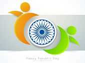 3D Ashoka Wheel with glossy human symbols in national flag colors for Happy Indian Republic Day celebration.