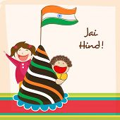 Cute little kids celebrating Indian Republic Day with National Flag, cap and Hindi text Jai Hind (Victory to India).
