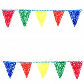 Wax crayon party bunting isolated on white background