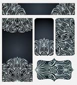 Set Of Cards With Elegant Line Art Pattern