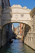 Bridge of sighs with gondola under the bridge in Venice