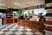 GENEVA - SEP 11: airport cafe on September 11, 2014 in Geneva, Switzerland. Geneva International Airport is located 4 km northwest of the city centre