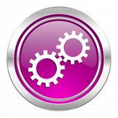 gears violet icon options sign