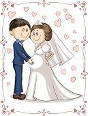 Pregnant Couple Wedding Invitation Vector Cartoon