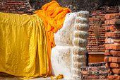Giant Reclining Buddha Statue Feet At Wat Lokayasutharam Ayutthaya Bangkok Thailand