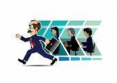 Businessman moving Business Forward