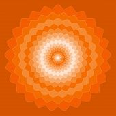 Ornamental Geometric Hand-drawing Bright Orange Spectral Colored Vector Background