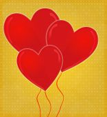 Heart-shaped Balloons Card With Glossy Heart Golden Background