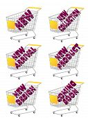 Yellow 3D Shopping Cart With New Arrivals Texts